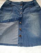niebieska dżinsowa rozpinana spódnica...