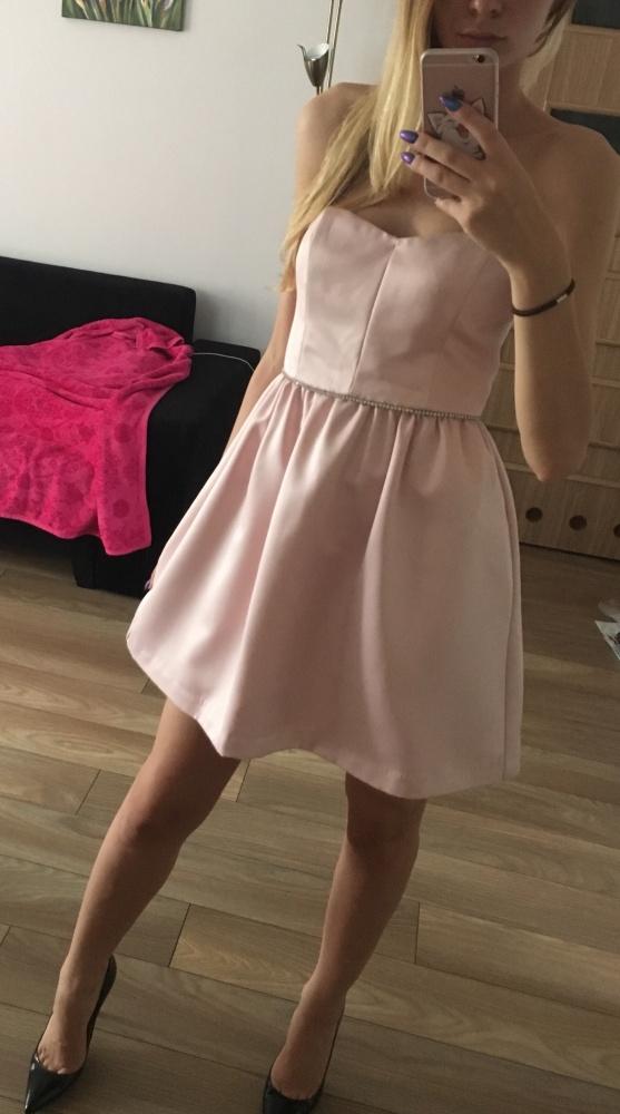 Suknie i sukienki Sukienka pudrowy roz satyna cyrkonie 36