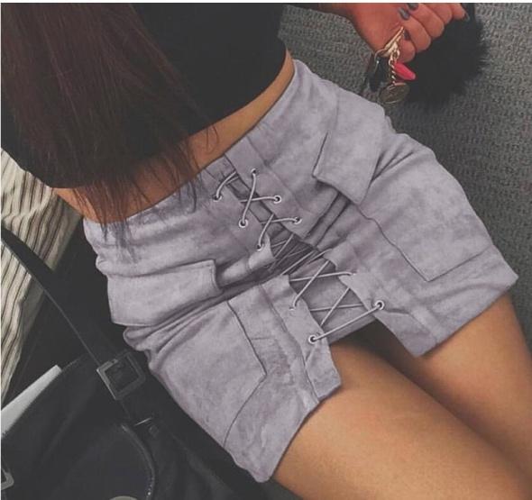 Spódnice Spodnica zamszowa sznurowana HIT