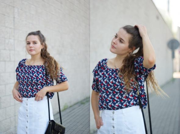Blogerek white denim skirt