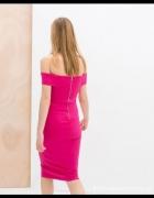 Sukienka Zara Fuksja opadające ramiona...