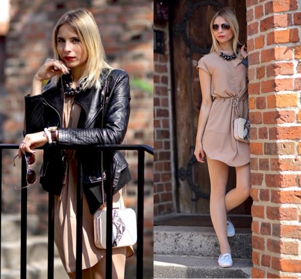 Blogerek Beżowa sukienka