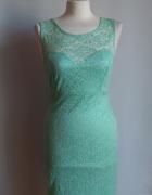 Miętowa midi ołówkowa sukienka koronkowa Hot...