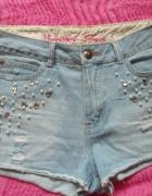 Denim co spodenki jeansowe wysoki stan perły S