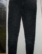 bershka denim biker jeans spodnie rurki pull&bear
