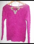 sweter fluffy włochacz H&M zara róż fiolet fuksja...