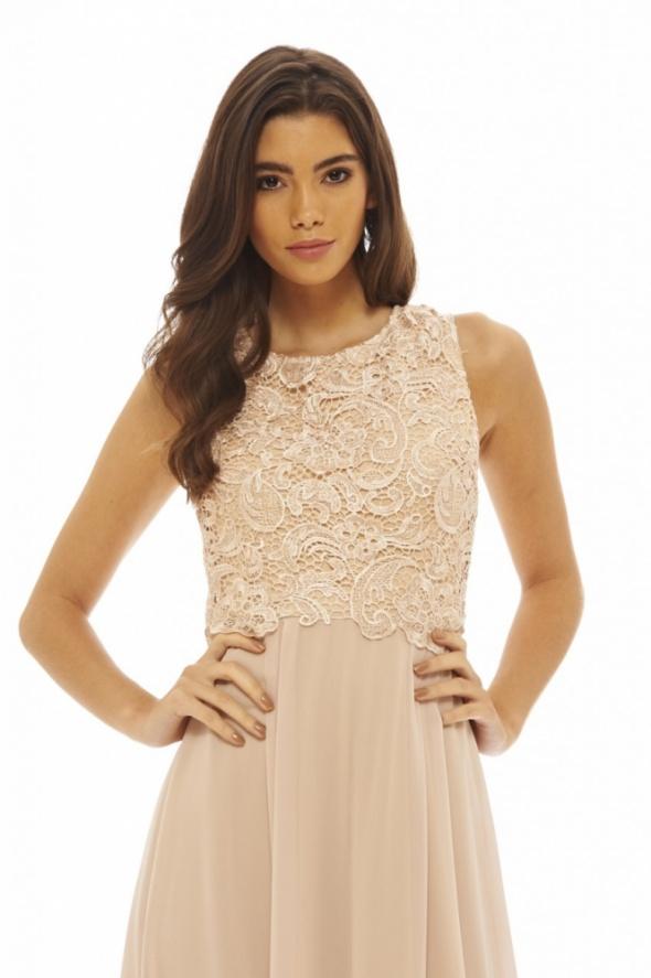 Długa szyfonowa sukienka z koronkowym topem w Suknie i