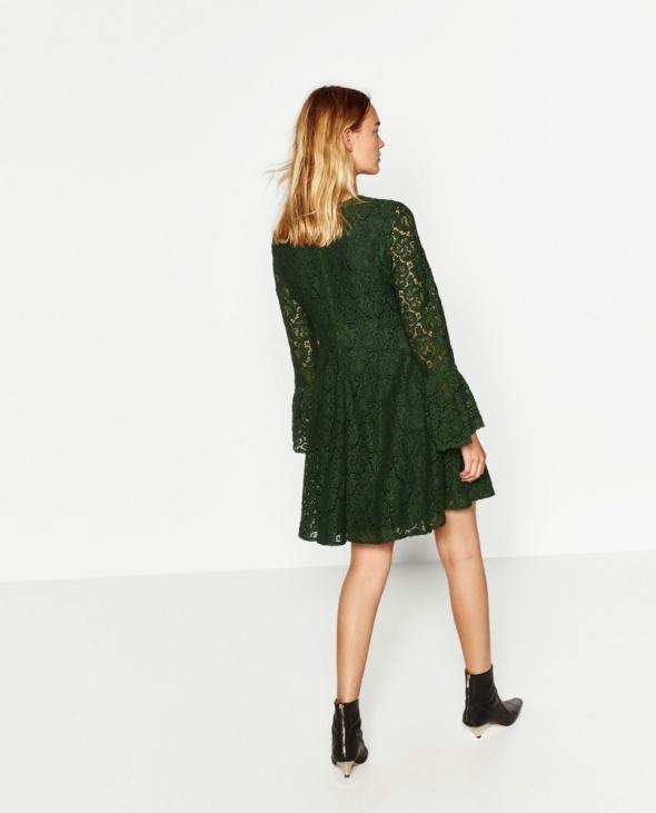 Sukienka ZARA zielona koronka w Suknie i sukienki Szafa.pl