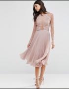 sukienka asos plisowana koronkowa pudrowy roż