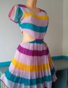 Kolorowa sukienka z wycięciami L
