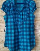 niebieska tunika koszula w kratę