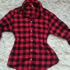 czerwona koszula krata s m czerwona czarna kratka