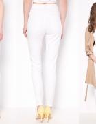 Bereshka Białe Spodnie Rurki Wysoki Stan
