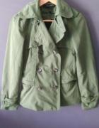 Damski Zielony Płaszcz Trencz Pagony Zara