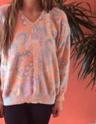 ciepły miękki sweter wzorzysty oversize vintage