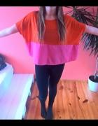 oversize bluzka rozmiar uniwersalny róż pomarańcz