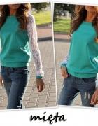 bluzka miętowa koronkowe rękawy L
