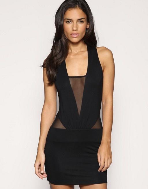 987273a650 Suknie i sukienki Sukienka Asos mała czarna z siateczką bez pleców L