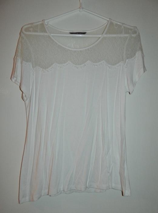 Bluzki biała bluzka z koronką Marks&Spencer