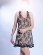 sukienka tunika w kolorach ziemi...