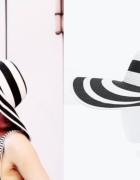 nowy kapelusz w paski czarno biały ZARA m...
