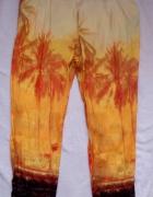 spodnie na lato Zara palmy cienkie letnie aladynki