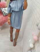 cudowna wygodna sukienka jeans lips