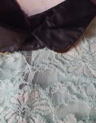 Miętowa elegancka koronkowa sukienka...