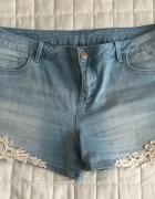 Jeansowe szorty z koronką Orsay l xl