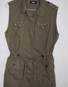 Kamizelka militarna khaki perełki 38 kieszonki