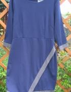 Nowa granatowo szara sukienka z rękawem 3 4 XXL 4