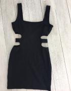 Sukienka wycięcia po bokach czarna obcisła Topshop