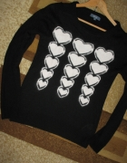 czarny sweterek moherowe serca