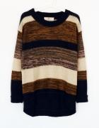 Gruby asymetryczny sweter paski tumblr...