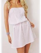 Śliczna luźna sukienka tunika Biała Nowa Tanio