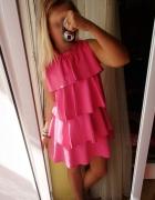 Sukienka falbanki falbany candy pink