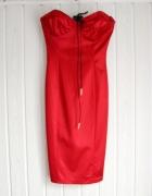 Dopasowana sukienka bez ramiączek bodycon red...