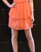 Zwiewna delikatna pomarańczowa sukienka rozm 34