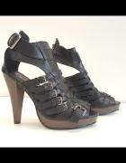 11612 Sandały paski czarne 38