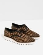 Zara nowe skórzane buty oxford plecionka skóra 39