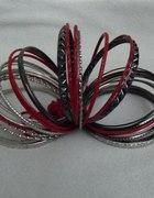 Bransoletki h&m czarne czerwone srebrne