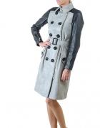 Skórzany Płaszcz Militarny Ramoneska Czarny nowy