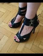 Nowe buty szpilki koturny czarne 38...