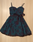 sukienka w kwiaty granatowa zielona rozmiar 38