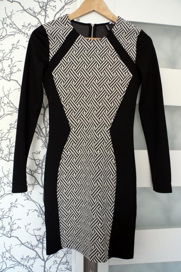 Czarno biała sukienka HM rozm 36 tuba w Suknie i sukienki