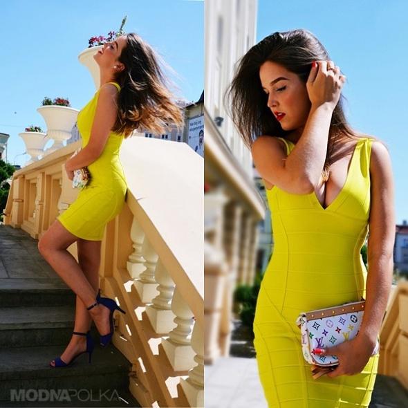 Eleganckie Sh yellow dress