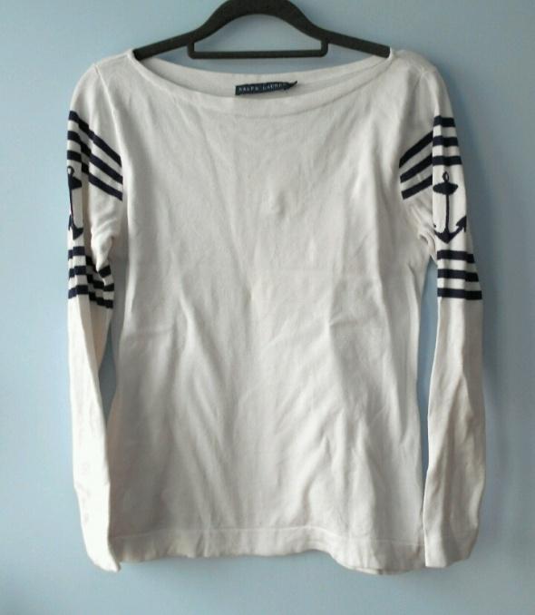 Swetry Ralph Lauren biały marynarski sweter kotwice