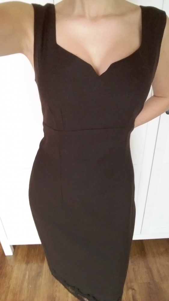Suknie i sukienki Brązowa sukienka elegancka z koronką