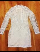 nowa ażurowa koronkowa biała sukienka nude