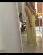 Żółta cytrynowa grecka dluga sukienka maxi wesele